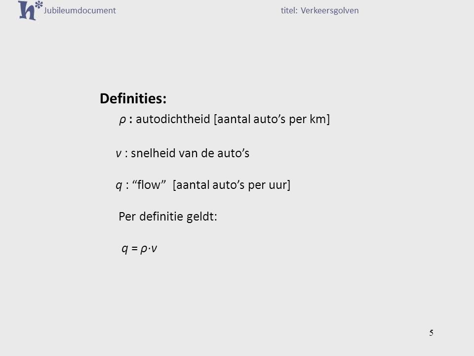 Definities: ρ : autodichtheid [aantal auto's per km]